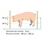 Электропастух для Свиней на 50*50м с изоляторами по дереву